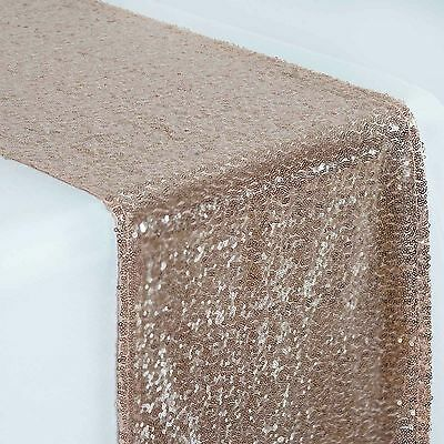 """12""""x108"""" Blush SEQUIN TABLE RUNNER Wedding Party Catering Event Reception Linens"""
