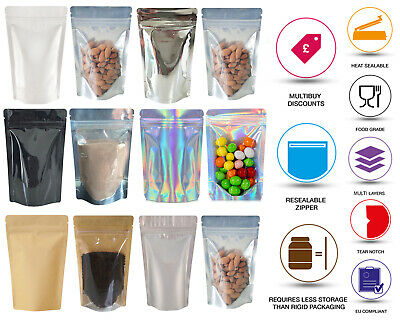 Mylar Stand Up Pouch Window Bags Sealable Pouch Ziplock Seeds Pouch Coffee Pouch