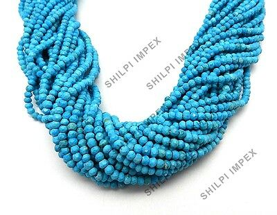 "Shining Gems! 1PC Strand 13.2"" American Turquoise 4mm rondelle faceted beads"
