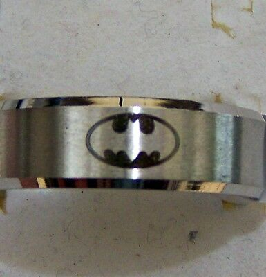 Size:9  ~~ Batman  ~~ Symbol ~ Silver ~ S/steel ~  Ring --- (Great_ Gift)