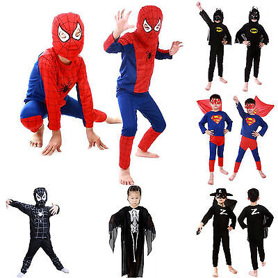 Superhero Costume kids fancy dress boys Batman Spiderman Superman UK SELLER