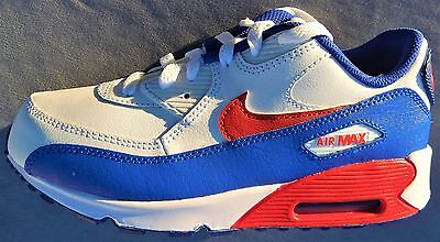 Nike Kids Air Max 90 Leather Sizes 1Y-3Y Red White Blue Cut Boxtops 724822-104