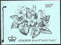 GB   FEB 1972   DT5 BRITISH FLOWERS  SERIES 50p STITCHED BOOKLET