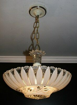 Antique cream beige glass sunflower art deco light fixture ceiling chandelier