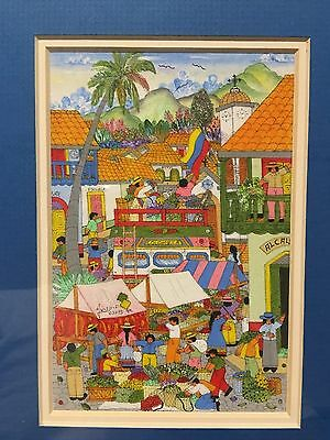 Framed - Hand Drawing Picture South America Market