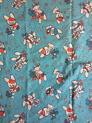 Vintage 1960s Fabric Piece Babies Kids Children Rabbits Brushed Cotton Nursery