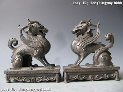 China palace Pure Bronze Copper Evil Foo Dog Lion Dragon Kirin kylin Statue Pair