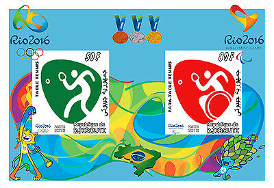 Djibouti 3 Sheets Table Tennis Rio 2016 Olympic Games Jeux Olympiques Sports