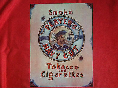 Players Navy  Cut Tobacco & Cigarette  Enamel  Advertising Sign.....30cm X 40cm