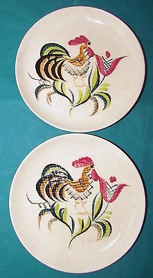 """TWO ROOSTER Bread & Butter Plates ORIENT WARE JAPAN """"Lissa 125""""  Hand Painted"""