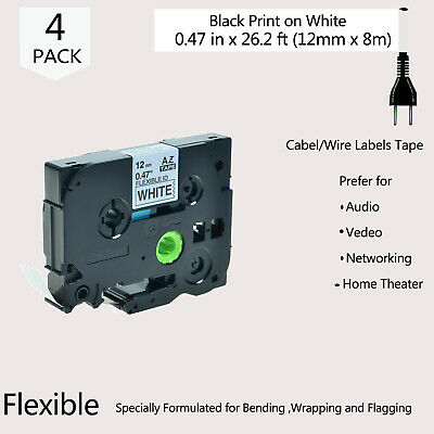 4 PK 1/2'' Black on White TZ-FX231 TZe-FX231 Label Tape Fit for Brother PT-D450