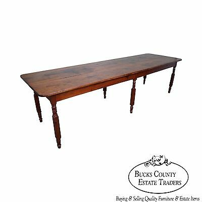 Antique Rustic Pine 10+ Foot Farmhouse Dining Table