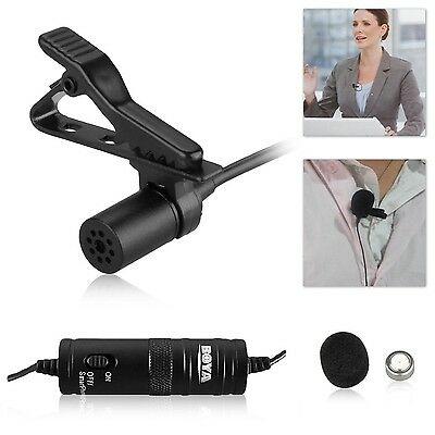 "Boya By-m1 3.5mm Electret Condenser Lavalier Microphone with 1/4"" Adapter... New"