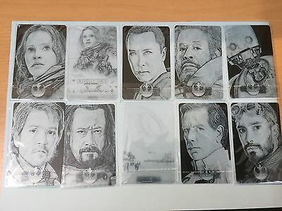Star Wars Rogue One Series 1 - Set 10 Sketch Card Plastic PVC Transparent