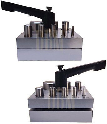 """Metal 8 Dies 1/8""""-1"""" Round Disc Cutter Hole Puncher Spring Loaded Jeweler Craft"""