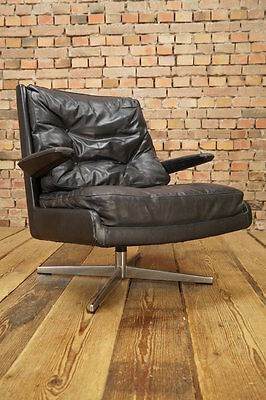 70er DESIGNER LEDER SESSEL LOUNGE LEATHER CLUB CHAIR VINTAGE Drehsessel vintage