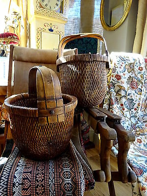 Superb Pair of Antique Chinese Weaved Food Baskets