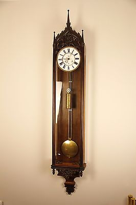 Huge Rare 30 Days Duration With Calendars Gothic Style Regulator Wall Clock