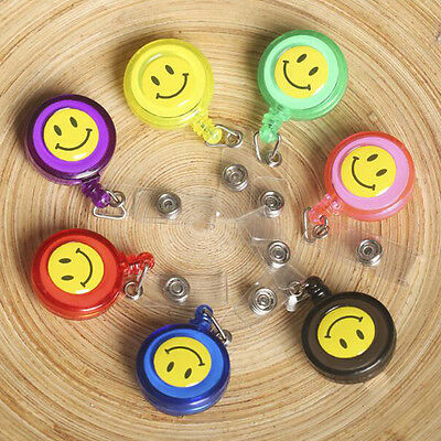 Smiling Face 20pcs Retractable Lanyard ID Card Badge Holder Reels With Clips
