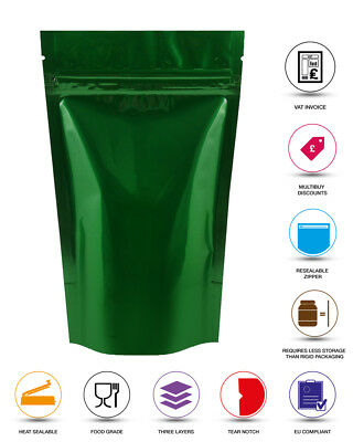 Green Stand Up Pouches Heat Seal Foil Zip Lock Bag Food Grade Mylar Pouches