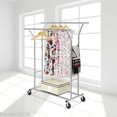 Heavy Duty Double Rail Adjustable Clothes Hanging Garment Rack Storage Stand UK