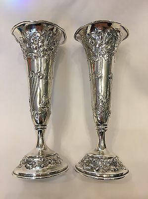 Pair American Sterling Black Starr & Frost Trumpet Vases Repousse Flowers Bud 7""