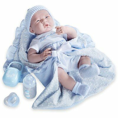 JC Toys Deluxe La Newborn Soft Body Baby Doll Gift Set (7 Piece), Blue, 15.5""