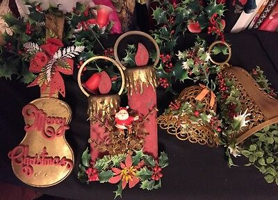 VTG Christmas Mistletoe Violin Poinsettia + 5' Plastic Garland Holly & Bells