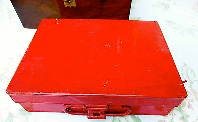 Vintage Winsor & Newton Red Paint/Pastel Box, double layer trays 23 x 17 x 6cm