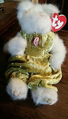 Ty Beanie Babies Attic Treasures Collection Katrina white cat green dress