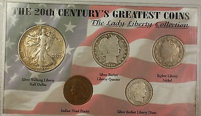 1901-1943 Lady Liberty Collection 5 Coins 3 Silver Half Barber Quarter Dime Set