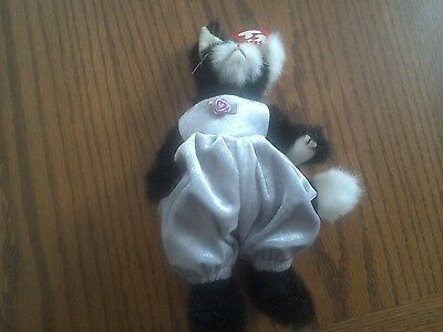 Ty Beanie Babies Attic Treasures Collection Purrcy Black cat Lilac Overalls