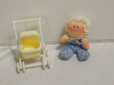 1988 Fisher Price Smooshees - Bouncing Baby Bonnie & Carriage - EXCELLENT COND