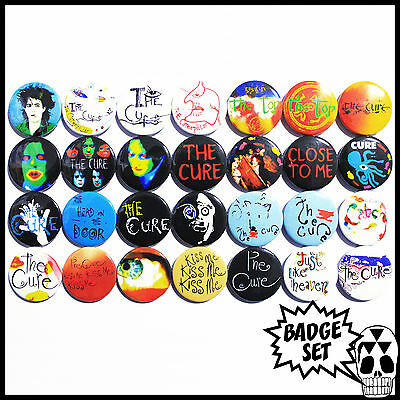 The Cure 1984-1988 Badge Set - 28 Quality Pin / Button Badges (Robert Smith)