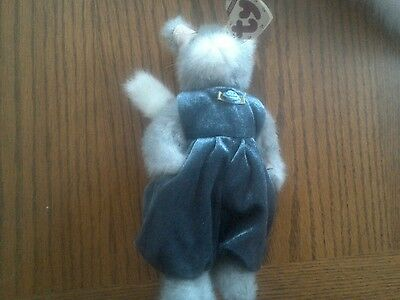 Ty Beanie Babies Attic Treasures Collection Whiskers Gray cat Blue Overalls