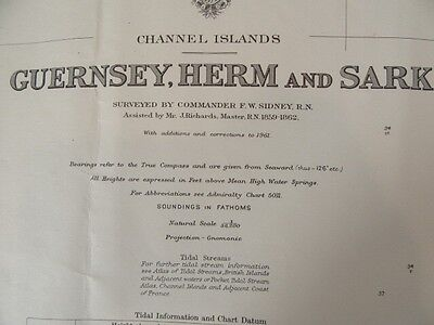 Vintage Nautical Map Of Guernsey, Herm And Sark - 1977