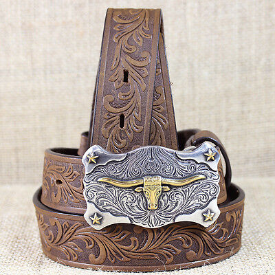 """18"""" Tony Lama Brown Boys Floral Tooled Leather Little Texas Western Belt"""