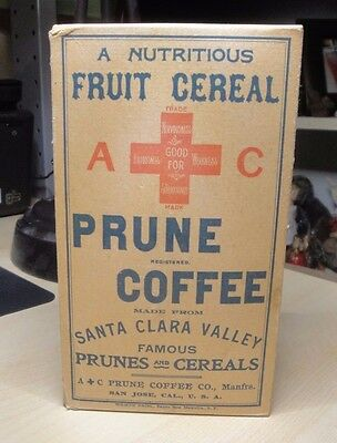 Vintage A+C Prune Coffee Fruit Cereal, Unopened box, 4 X 7 inches.
