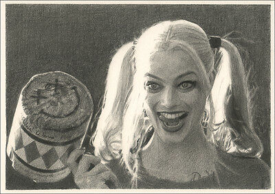 Harley Quinn Suicide Squad - Margot Robbie Original Pencil Drawing Art - A4 Size