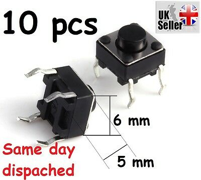10 x Mini Micro Momentary Tactile Tact Touch Push Button Switch 6*6*5mm DIP-4pin