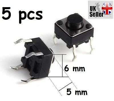 5 x Mini Micro Momentary Tactile Tact Touch Push Button Switch 6*6*5mm DIP-4pin