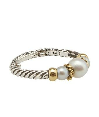 David Yurman Sterling Silver & 18K Pearl Cable Ring, Size 6.5
