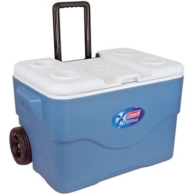 Coleman 46.8 QT EXTREME WHEELED COOLER BOX IN BLUE WITH HANDLE (50Litre)