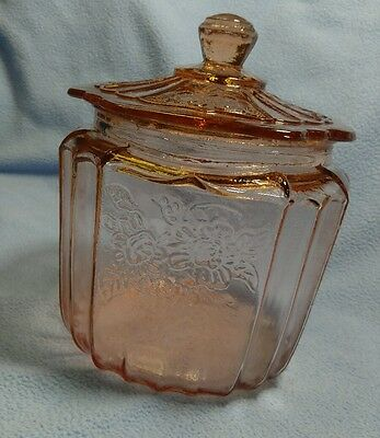 Mayfair Pink Depression Open Rose Biscuit Cookie Jar Hocking Glass EXCELLENT
