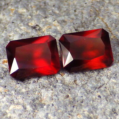 HESSONITE GARNET-MOZAMBIQUE 6.28Ct TW MATCHING PAIR-SEMI TRANSPARENT-READ!