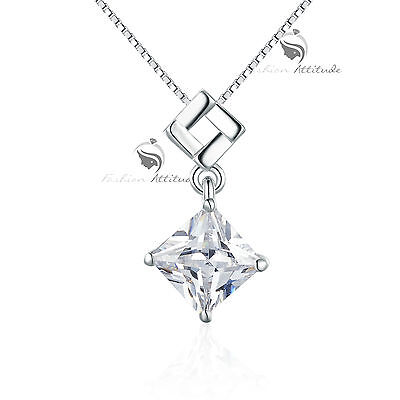 Jewelry & Watches 18K GOLD GP Genuine Made With SWAROVSKI CRYSTAL Cubic Pendant NECKLACE
