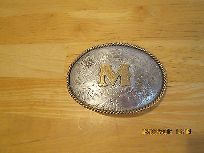 """Montana Silversmiths Sterling Silver Plate Initial  """"M"""" Monogram"""