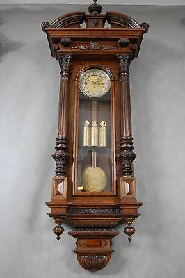 Huge 3 Weight Driven Grand Sonnerie Vienna Wall Clock In Amazing Case
