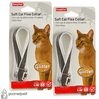 2xBeaphar Soft Cat&Kitten Flea Collar,Glitter-Black, up to 4 Months Protection
