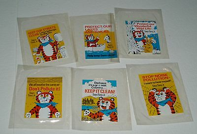 1970's Tony the Tiger Jr Cereal Premium Ecology Sticker Set Frosted Rice